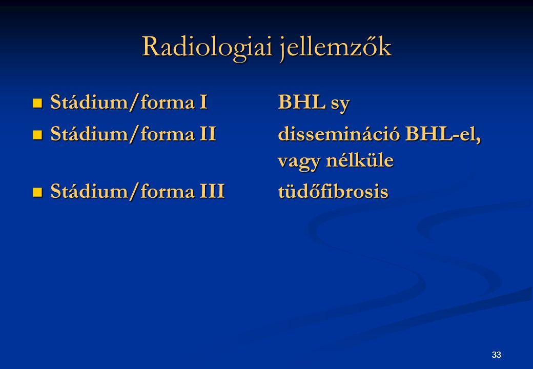 33 Radiologiai jellemzők Stádium/forma IBHL sy Stádium/forma IBHL sy Stádium/forma IIdissemináció BHL-el, vagy nélküle Stádium/forma IIdissemináció BH