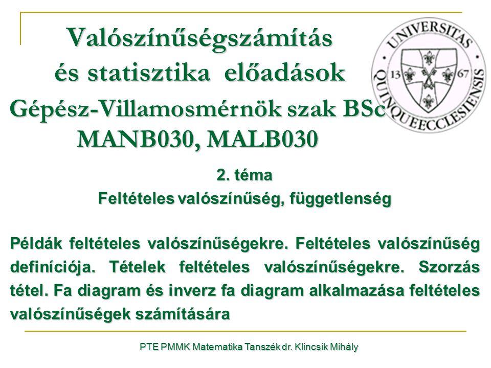 PTE PMMK Matematika Tanszék dr. Klincsik Mihály Valószínűségszámítás és statisztika előadások 2. téma Feltételes valószínűség, függetlenség Példák fel