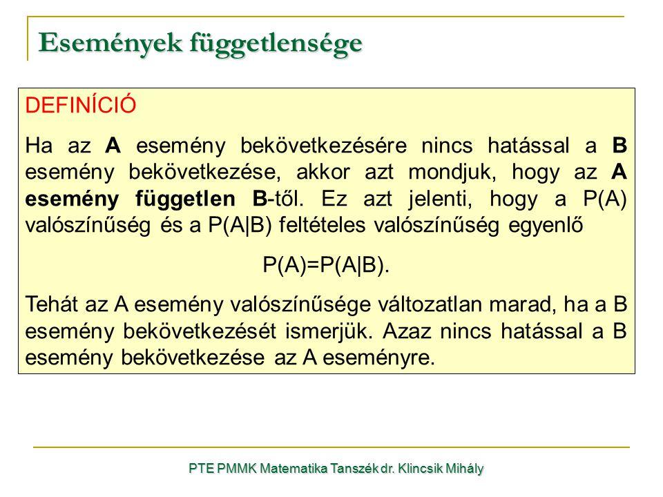 Események függetlensége PTE PMMK Matematika Tanszék dr. Klincsik Mihály DEFINÍCIÓ Ha az A esemény bekövetkezésére nincs hatással a B esemény bekövetke
