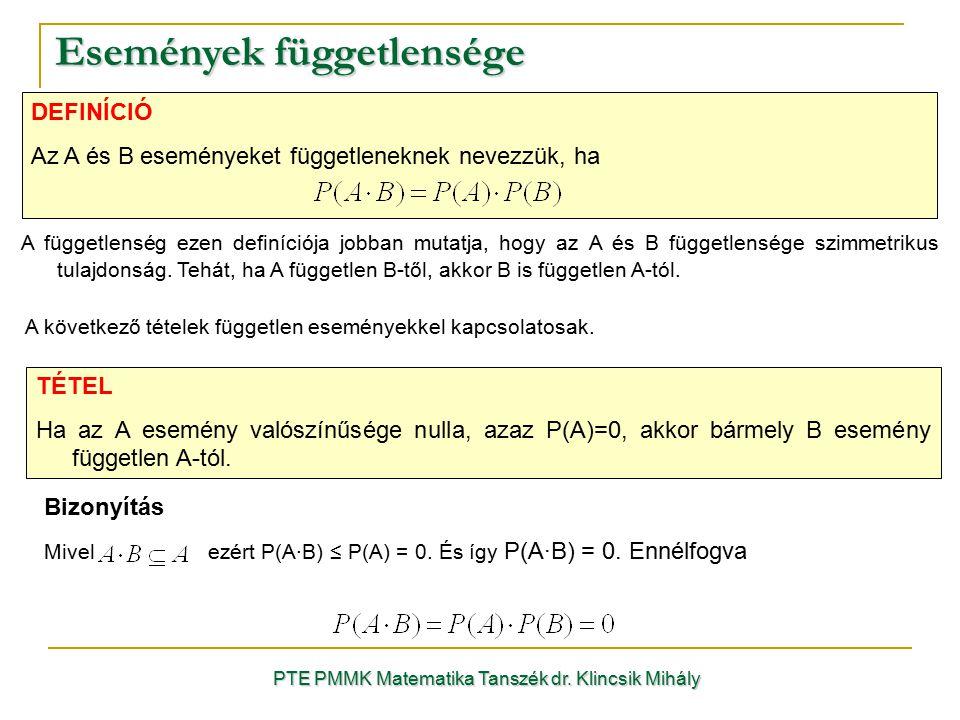 Események függetlensége PTE PMMK Matematika Tanszék dr. Klincsik Mihály DEFINÍCIÓ Az A és B eseményeket függetleneknek nevezzük, ha A függetlenség eze