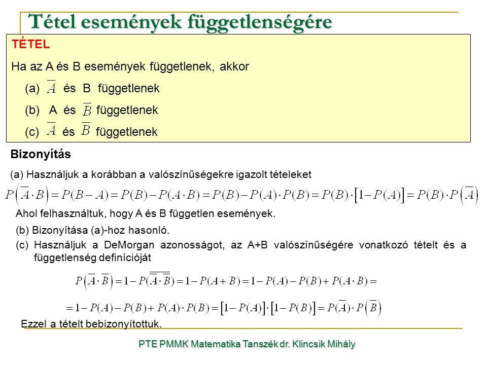 Tétel események függetlenségére PTE PMMK Matematika Tanszék dr. Klincsik Mihály Bizonyítás (a) Használjuk a korábban a valószínűségekre igazolt tétele