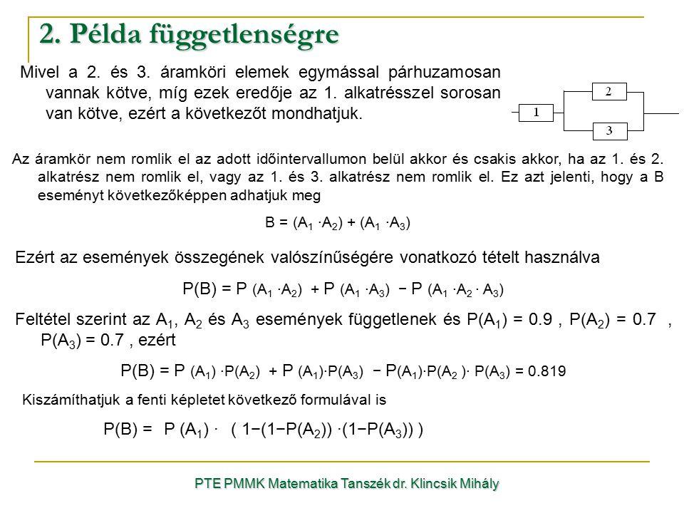 2. Példa függetlenségre PTE PMMK Matematika Tanszék dr. Klincsik Mihály Ezért az események összegének valószínűségére vonatkozó tételt használva P(B)