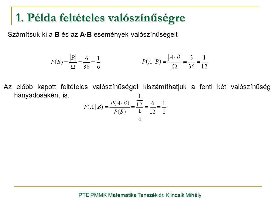1. Példa feltételes valószínűségre PTE PMMK Matematika Tanszék dr. Klincsik Mihály Az előbb kapott feltételes valószínűséget kiszámíthatjuk a fenti ké