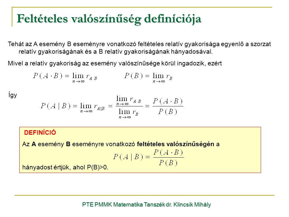 Feltételes valószínűség definíciója PTE PMMK Matematika Tanszék dr. Klincsik Mihály Tehát az A esemény B eseményre vonatkozó feltételes relatív gyakor