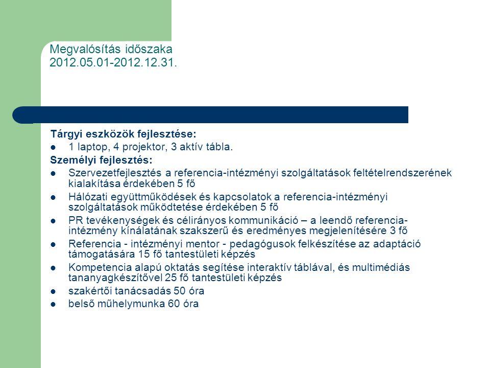 Megvalósítás időszaka 2012.05.01-2012.12.31.