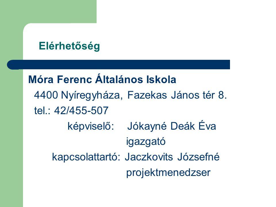 Elérhetőség Móra Ferenc Általános Iskola 4400 Nyíregyháza, Fazekas János tér 8.