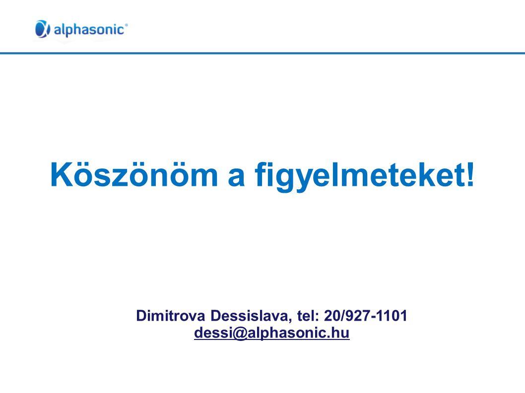 Köszönöm a figyelmeteket! Dimitrova Dessislava, tel: 20/927-1101 dessi@alphasonic.hu