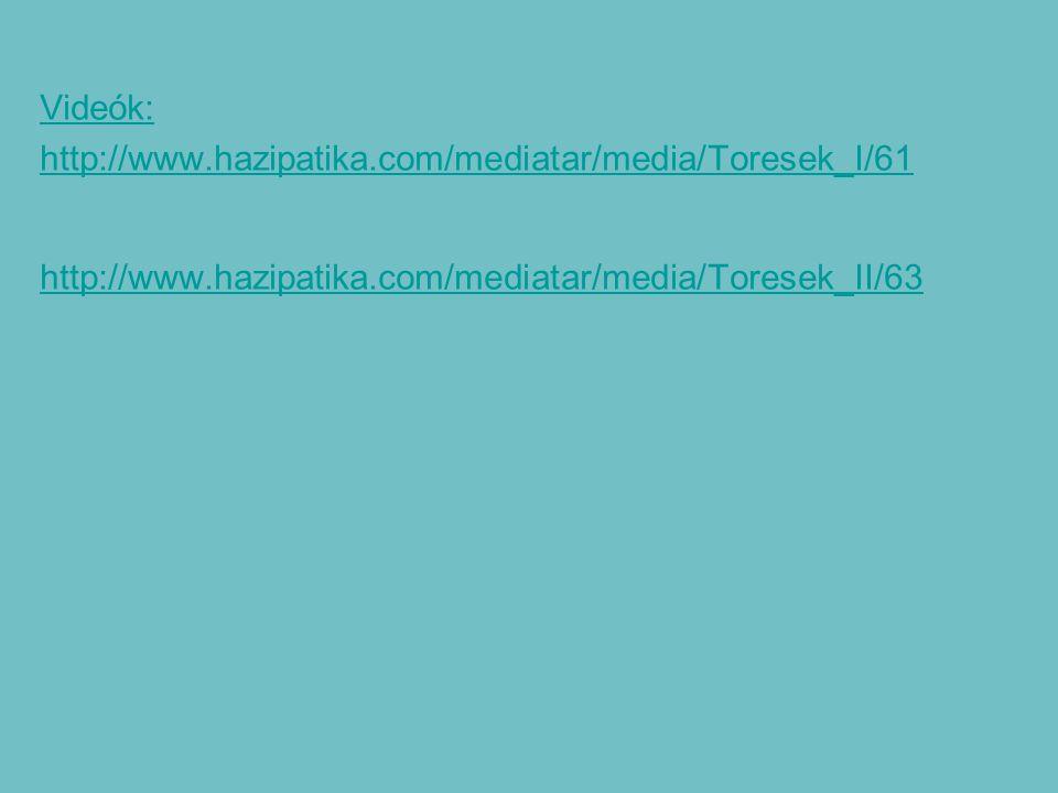 Videók: http://www.hazipatika.com/mediatar/media/Toresek_I/61 http://www.hazipatika.com/mediatar/media/Toresek_II/63