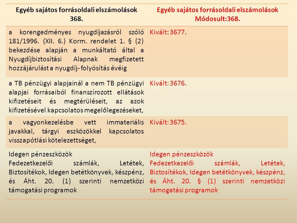 Egyéb sajátos forrásoldali elszámolások 368. Egyéb sajátos forrásoldali elszámolások Módosult:368. a korengedményes nyugdíjazásról szóló 181/1996. (XI