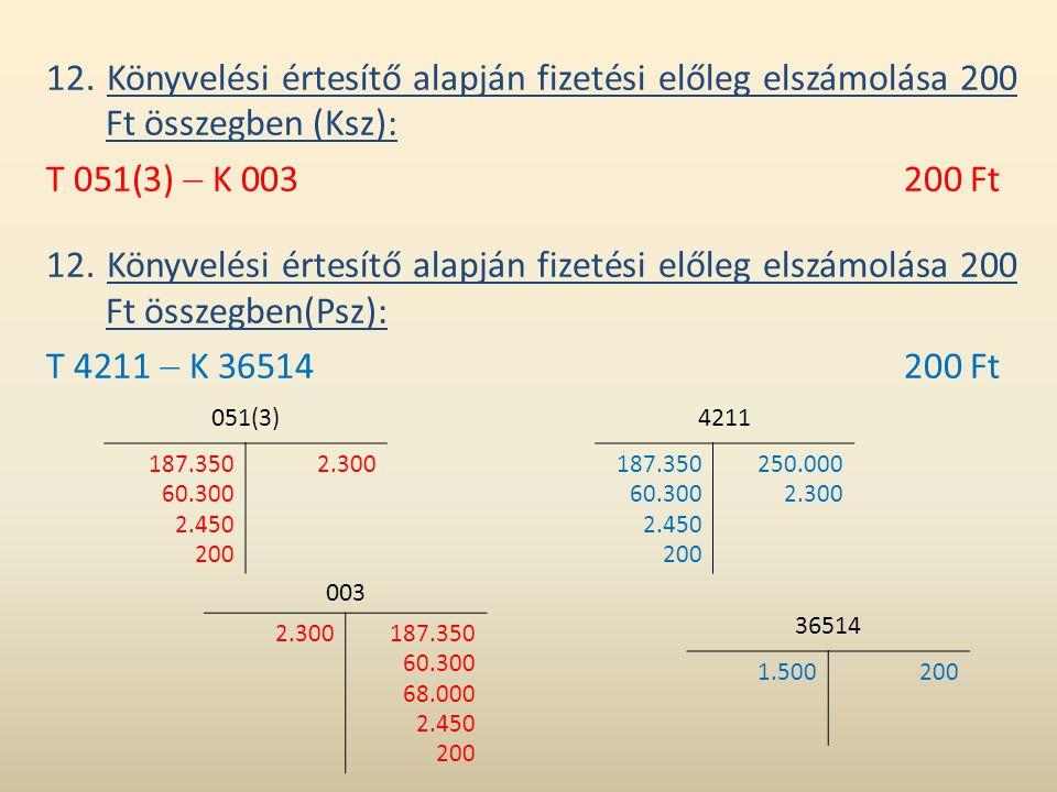 12. Könyvelési értesítő alapján fizetési előleg elszámolása 200 Ft összegben (Ksz): T 051(3)  K 003200 Ft 12. Könyvelési értesítő alapján fizetési el