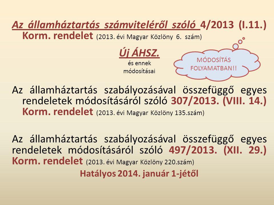 Az államháztartás számviteléről szóló 4/2013 (I.11.) Korm. rendelet (2013. évi Magyar Közlöny 6. szám) Új ÁHSZ. és ennek módosításai Az államháztartás