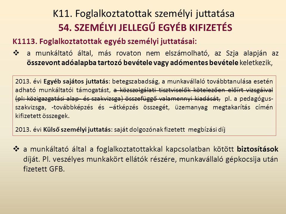 K11. Foglalkoztatottak személyi juttatása 54. SZEMÉLYI JELLEGŰ EGYÉB KIFIZETÉS K1113. Foglalkoztatottak egyéb személyi juttatásai:  a munkáltató álta