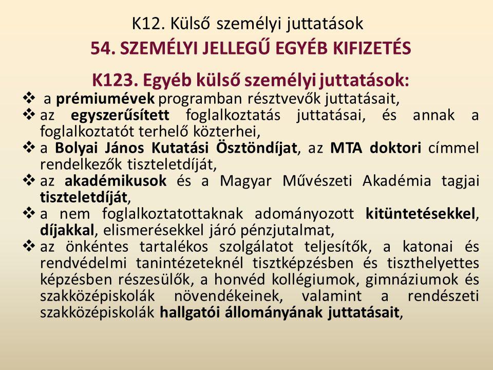 K12. Külső személyi juttatások 54. SZEMÉLYI JELLEGŰ EGYÉB KIFIZETÉS K123. Egyéb külső személyi juttatások:  a prémiumévek programban résztvevők jutta