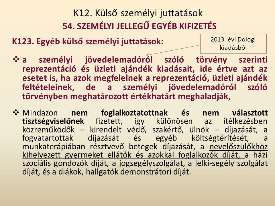 K12. Külső személyi juttatások 54. SZEMÉLYI JELLEGŰ EGYÉB KIFIZETÉS K123. Egyéb külső személyi juttatások:  a személyi jövedelemadóról szóló törvény