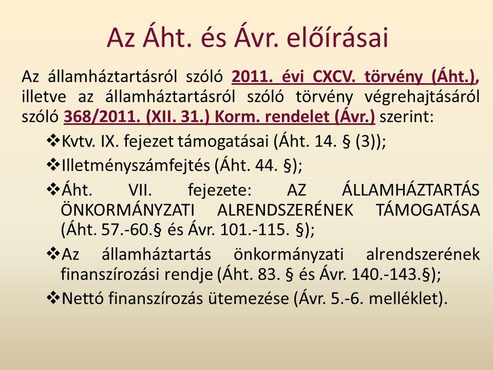 Az Áht. és Ávr. előírásai Az államháztartásról szóló 2011. évi CXCV. törvény (Áht.), illetve az államháztartásról szóló törvény végrehajtásáról szóló