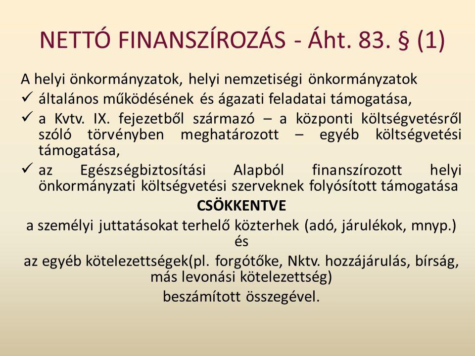 NETTÓ FINANSZÍROZÁS - Áht. 83. § (1) A helyi önkormányzatok, helyi nemzetiségi önkormányzatok általános működésének és ágazati feladatai támogatása, a