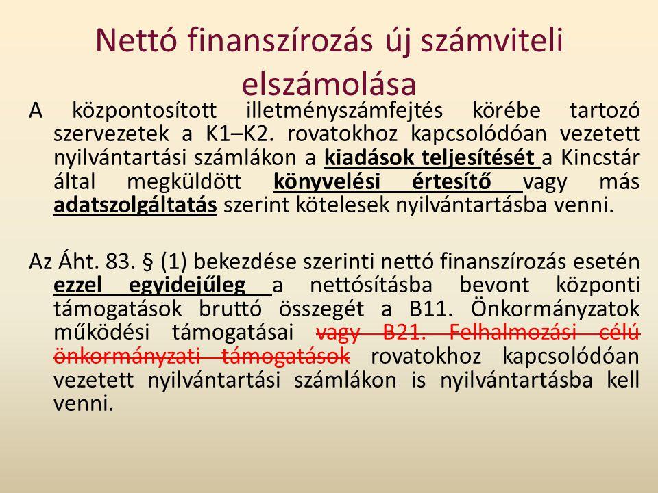 Nettó finanszírozás új számviteli elszámolása A központosított illetményszámfejtés körébe tartozó szervezetek a K1–K2. rovatokhoz kapcsolódóan vezetet