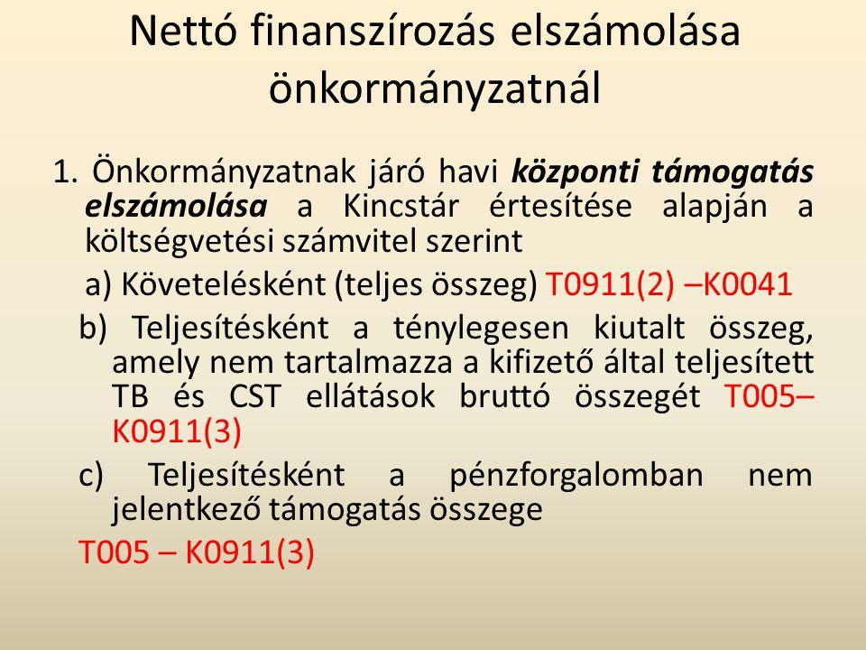 Nettó finanszírozás elszámolása önkormányzatnál 1. Önkormányzatnak járó havi központi támogatás elszámolása a Kincstár értesítése alapján a költségvet