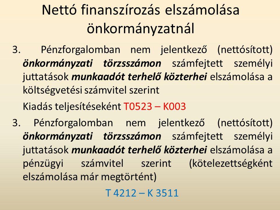 Nettó finanszírozás elszámolása önkormányzatnál 3. Pénzforgalomban nem jelentkező (nettósított) önkormányzati törzsszámon számfejtett személyi juttatá