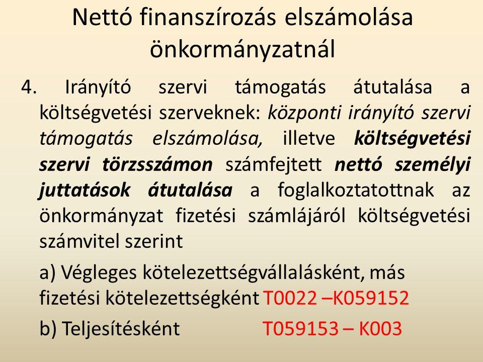 Nettó finanszírozás elszámolása önkormányzatnál 4. Irányító szervi támogatás átutalása a költségvetési szerveknek: központi irányító szervi támogatás