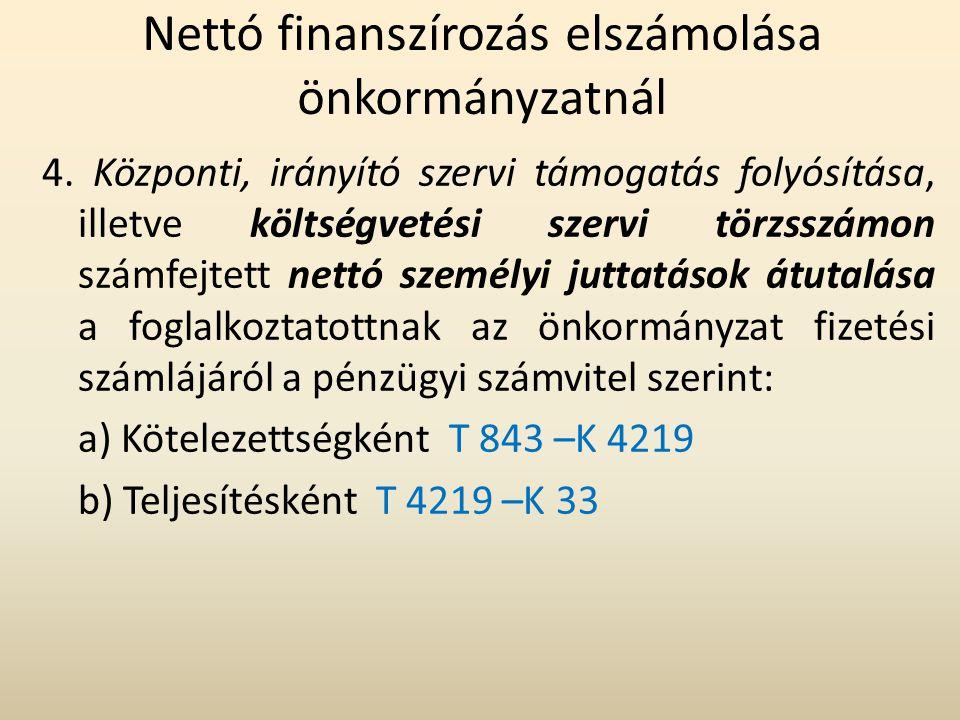 Nettó finanszírozás elszámolása önkormányzatnál 4. Központi, irányító szervi támogatás folyósítása, illetve költségvetési szervi törzsszámon számfejte