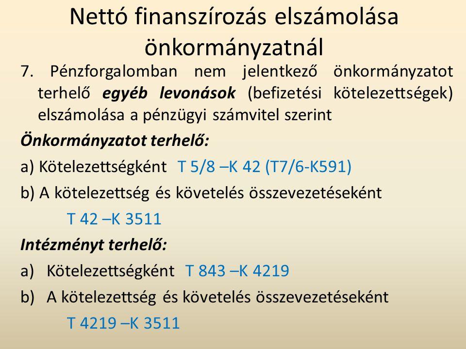 Nettó finanszírozás elszámolása önkormányzatnál 7. Pénzforgalomban nem jelentkező önkormányzatot terhelő egyéb levonások (befizetési kötelezettségek)