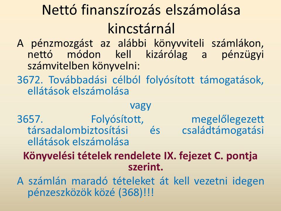 Nettó finanszírozás elszámolása kincstárnál A pénzmozgást az alábbi könyvviteli számlákon, nettó módon kell kizárólag a pénzügyi számvitelben könyveln
