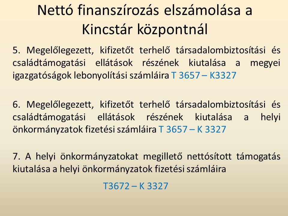 Nettó finanszírozás elszámolása a Kincstár központnál 5. Megelőlegezett, kifizetőt terhelő társadalombiztosítási és családtámogatási ellátások részéne