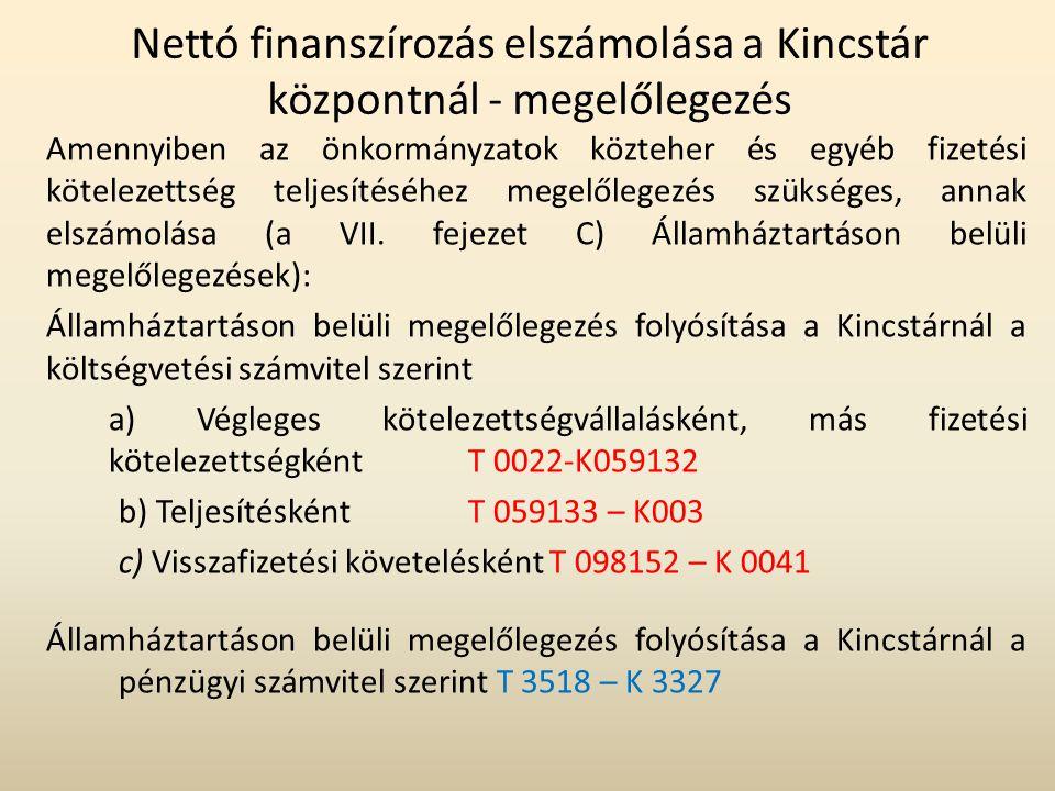 Nettó finanszírozás elszámolása a Kincstár központnál - megelőlegezés Amennyiben az önkormányzatok közteher és egyéb fizetési kötelezettség teljesítés