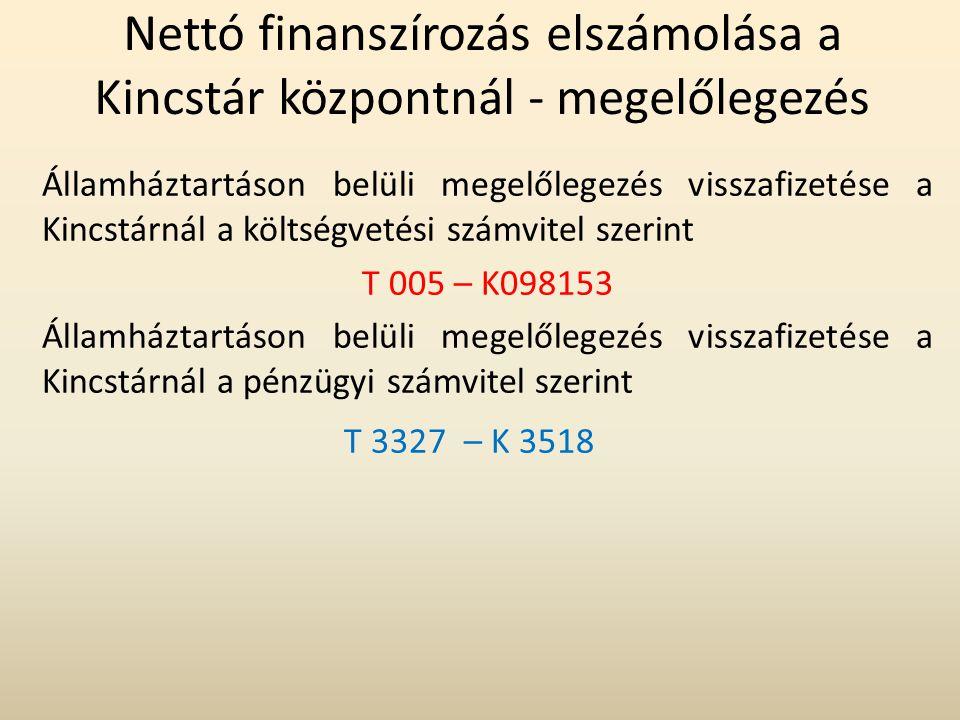 Nettó finanszírozás elszámolása a Kincstár központnál - megelőlegezés Államháztartáson belüli megelőlegezés visszafizetése a Kincstárnál a költségveté