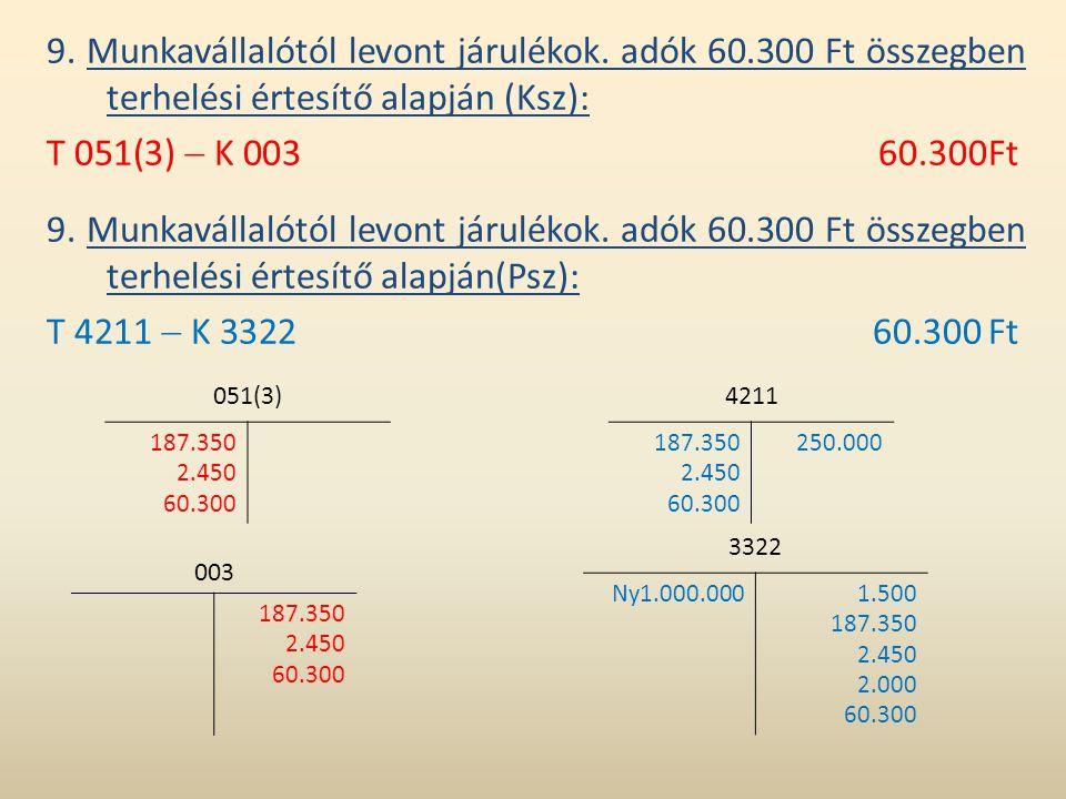 9. Munkavállalótól levont járulékok. adók 60.300 Ft összegben terhelési értesítő alapján (Ksz): T 051(3)  K 00360.300Ft 9. Munkavállalótól levont jár
