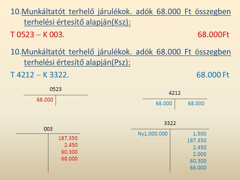 10.Munkáltatót terhelő járulékok. adók 68.000 Ft összegben terhelési értesítő alapján(Ksz): T 0523  K 003.68.000Ft 10.Munkáltatót terhelő járulékok.