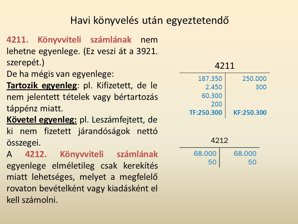 Havi könyvelés után egyeztetendő 4211. Könyvviteli számlának nem lehetne egyenlege. (Ez veszi át a 3921. szerepét.) De ha mégis van egyenlege: Tartozi