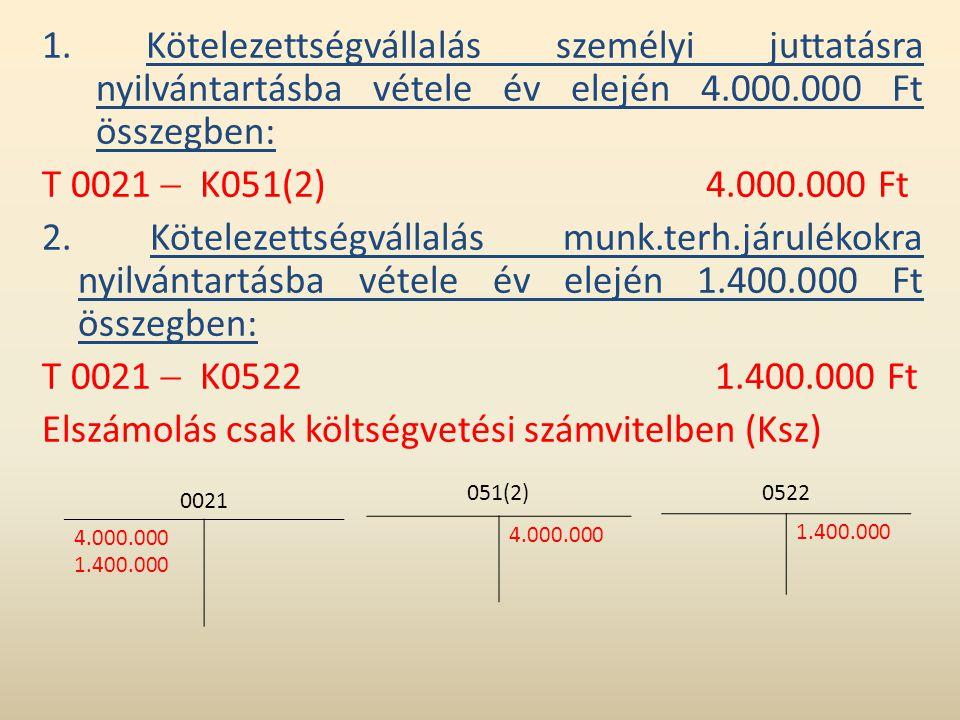 1. Kötelezettségvállalás személyi juttatásra nyilvántartásba vétele év elején 4.000.000 Ft összegben: T 0021  K051(2)4.000.000 Ft 2. Kötelezettségvál