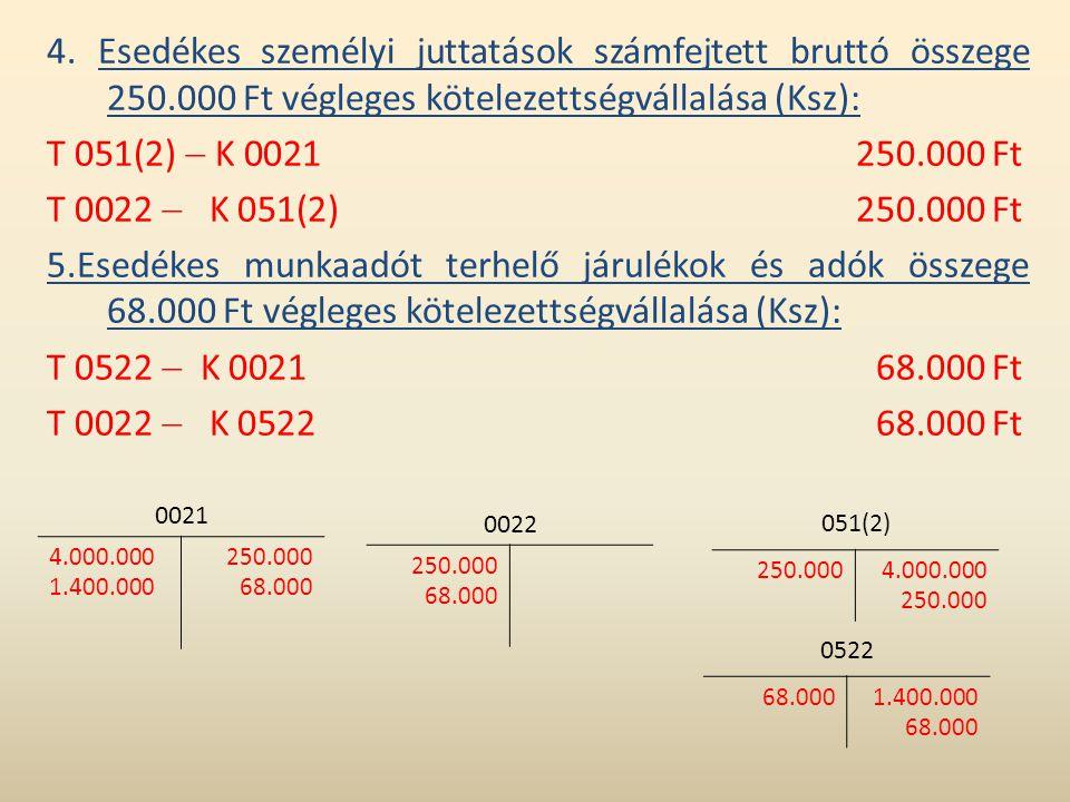 4. Esedékes személyi juttatások számfejtett bruttó összege 250.000 Ft végleges kötelezettségvállalása (Ksz): T 051(2)  K 0021250.000 Ft T 0022  K 05