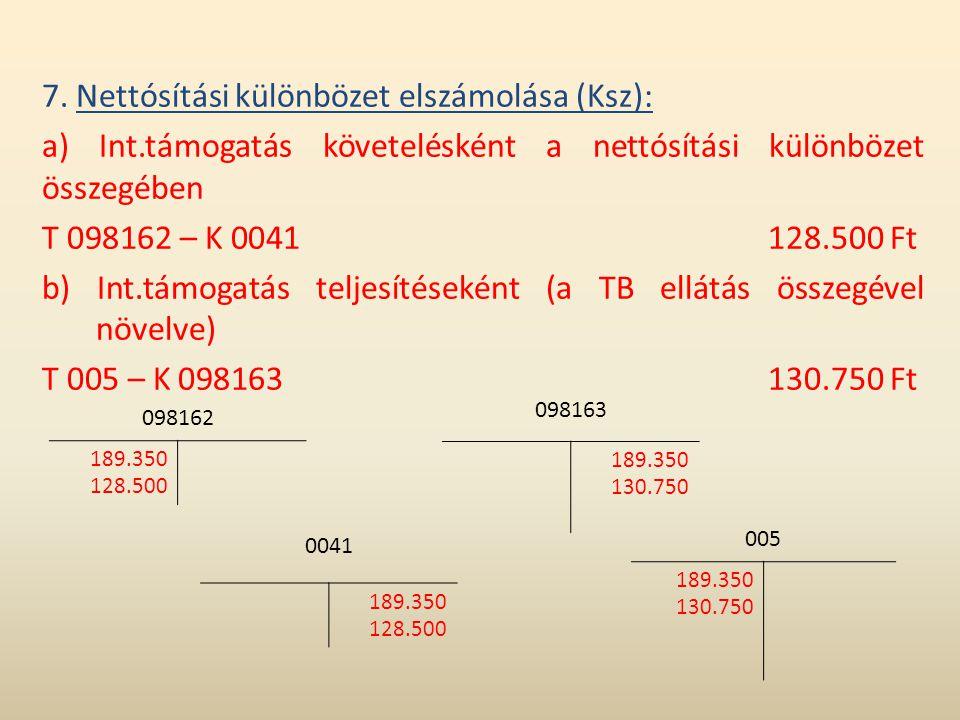 7. Nettósítási különbözet elszámolása (Ksz): a) Int.támogatás követelésként a nettósítási különbözet összegében T 098162 – K 0041128.500 Ft b) Int.tám