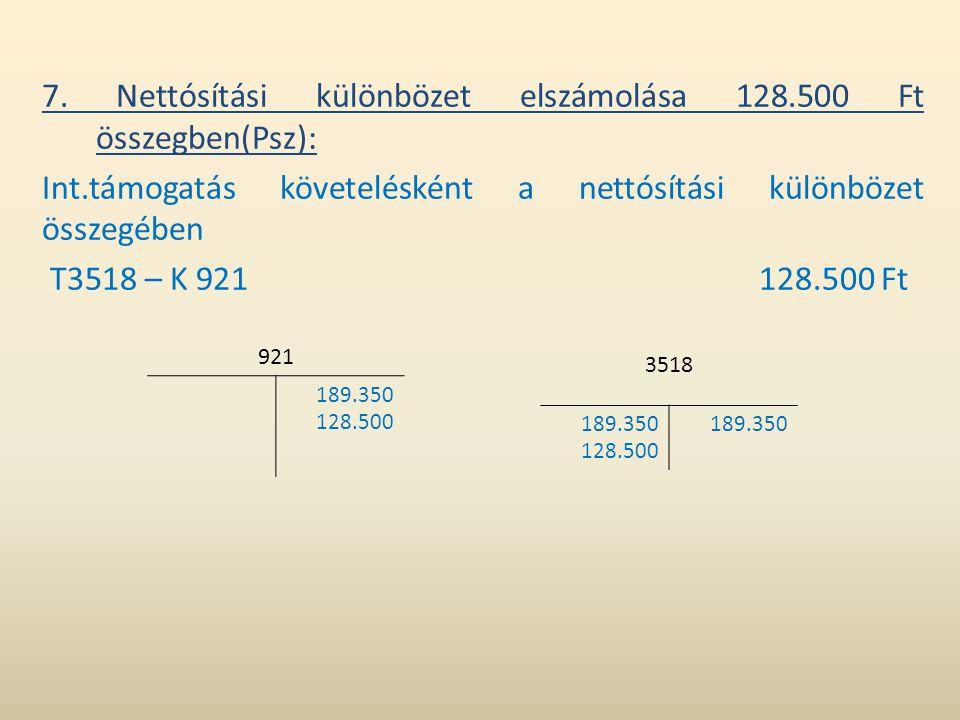 7. Nettósítási különbözet elszámolása 128.500 Ft összegben(Psz): Int.támogatás követelésként a nettósítási különbözet összegében T3518 – K 921 128.500