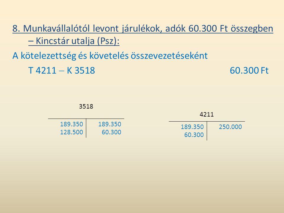 8. Munkavállalótól levont járulékok, adók 60.300 Ft összegben – Kincstár utalja (Psz): A kötelezettség és követelés összevezetéseként T 4211  K 35186