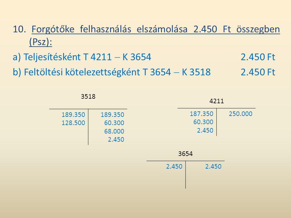 10. Forgótőke felhasználás elszámolása 2.450 Ft összegben (Psz): a) Teljesítésként T 4211  K 36542.450 Ft b) Feltöltési kötelezettségként T 3654  K