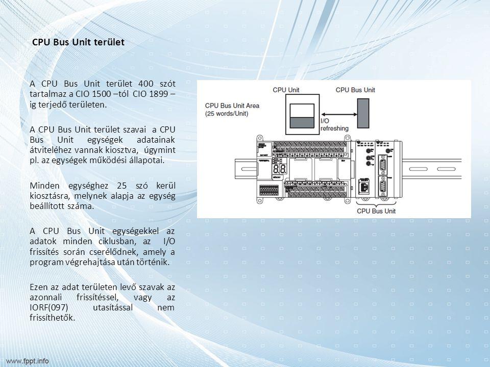 CPU Bus Unit terület A CPU Bus Unit terület 400 szót tartalmaz a CIO 1500 –tól CIO 1899 – ig terjedő területen. A CPU Bus Unit terület szavai a CPU Bu
