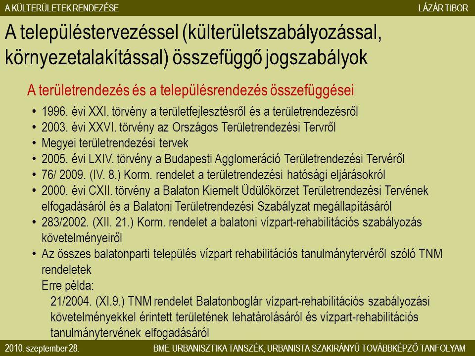 A KÜLTERÜLETEK RENDEZÉSE LÁZÁR TIBOR 2010. szeptember 28. BME URBANISZTIKA TANSZÉK, URBANISTA SZAKIRÁNYÚ TOVÁBBKÉPZŐ TANFOLYAM A területrendezés és a