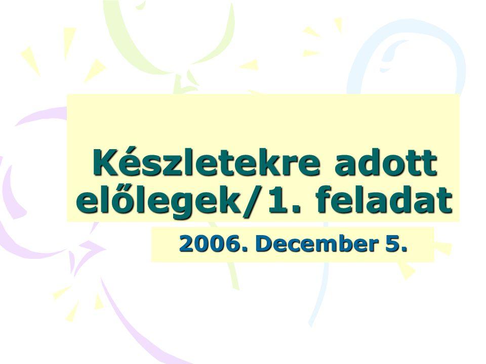 Készletekre adott előlegek/1. feladat 2006. December 5.