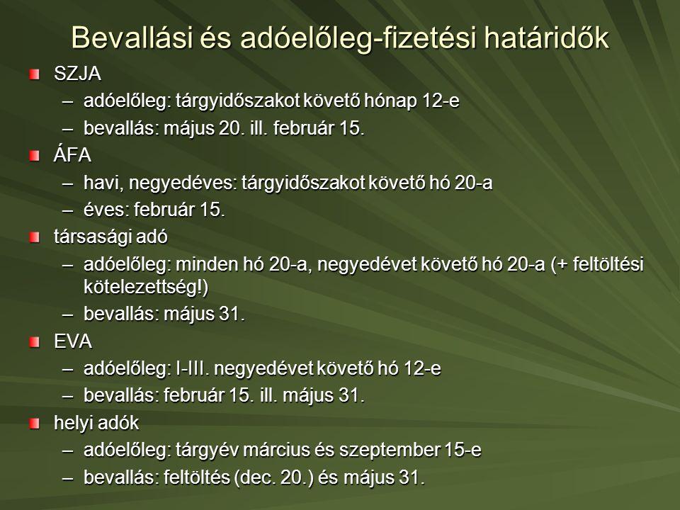 Bevallási és adóelőleg-fizetési határidők SZJA –adóelőleg: tárgyidőszakot követő hónap 12-e –bevallás: május 20. ill. február 15. ÁFA –havi, negyedéve