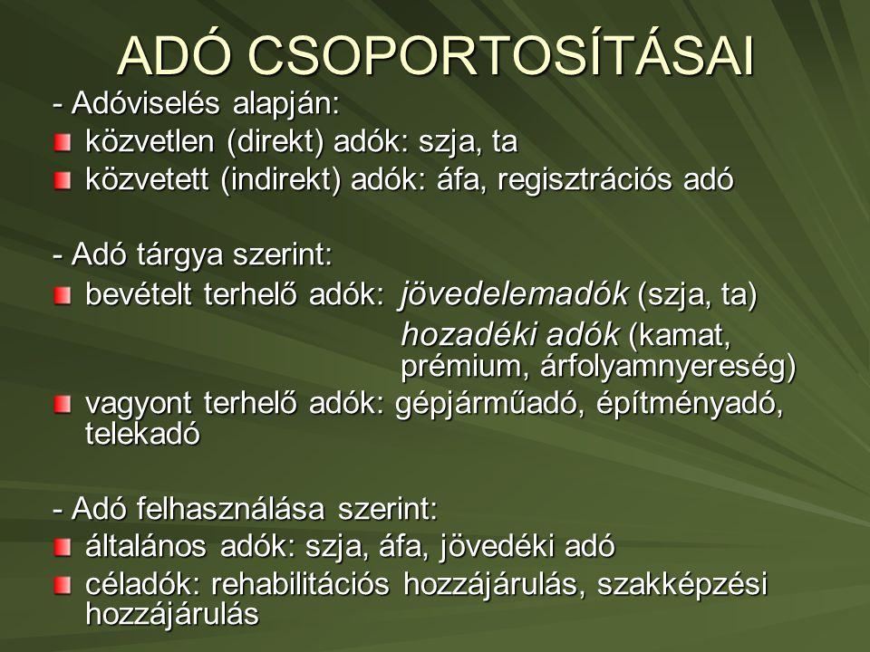 ADÓ CSOPORTOSÍTÁSAI 2.