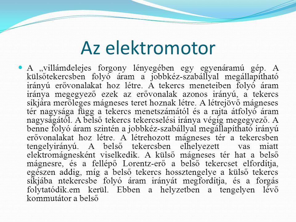 """Az elektromotor A """"villámdelejes forgony lényegében egy egyenáramú gép. A külsőtekercsben folyó áram a jobbkéz-szabállyal megállapítható irányú erővon"""