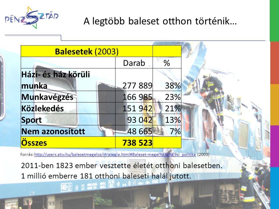A legtöbb baleset otthon történik… Balesetek (2003) Darab% Házi- és ház körüli munka277 88938% Munkavégzés166 98523% Közlekedés151 94221% Sport93 04213% Nem azonosított48 6657% Összes738 523 Forrás: http://users.atw.hu/balesetmegeloz/strategia.html#Baleset-megel%F5z%E9si_politika (2003)http://users.atw.hu/balesetmegeloz/strategia.html#Baleset-megel%F5z%E9si_politika 2011-ben 1823 ember vesztette életét otthoni balesetben.