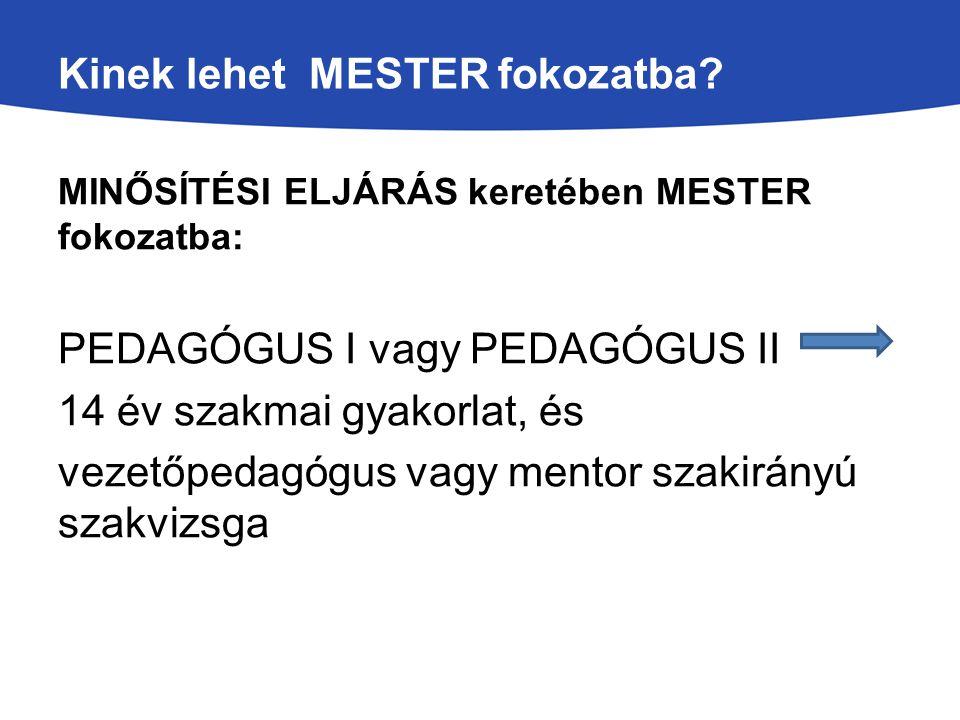 Kinek lehet MESTER fokozatba? k MINŐSÍTÉSI ELJÁRÁS keretében MESTER fokozatba: PEDAGÓGUS I vagy PEDAGÓGUS II 14 év szakmai gyakorlat, és vezetőpedagóg