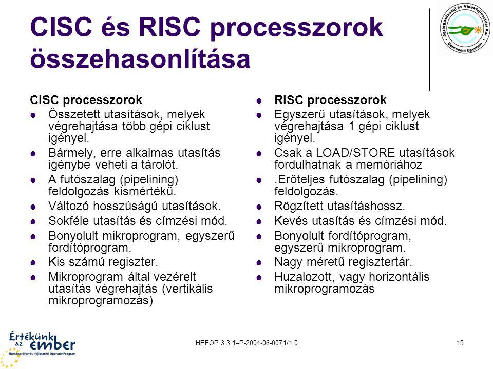 HEFOP 3.3.1–P-2004-06-0071/1.015 CISC és RISC processzorok összehasonlítása CISC processzorok Összetett utasítások, melyek végrehajtása több gépi ciklust igényel.