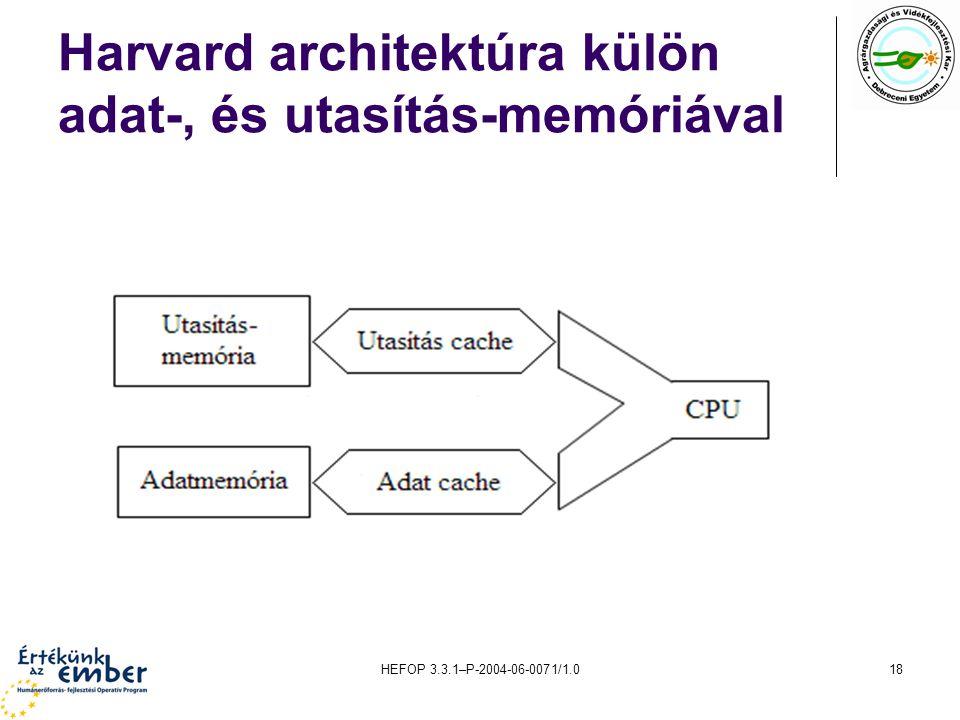 HEFOP 3.3.1–P-2004-06-0071/1.018 Harvard architektúra külön adat-, és utasítás-memóriával