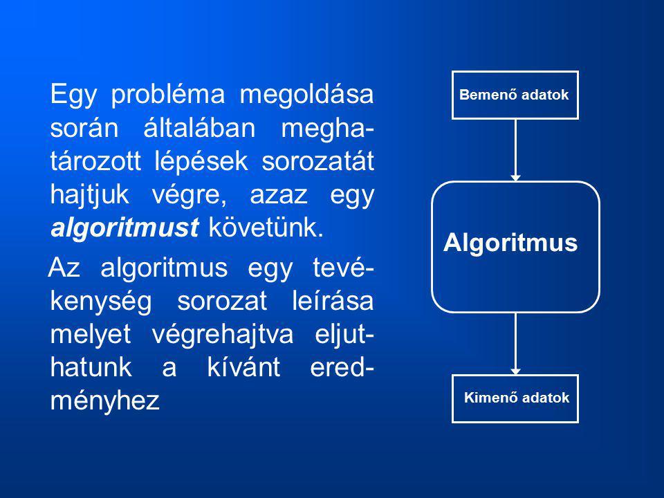 Egy probléma megoldása során általában megha- tározott lépések sorozatát hajtjuk végre, azaz egy algoritmust követünk. Az algoritmus egy tevé- kenység